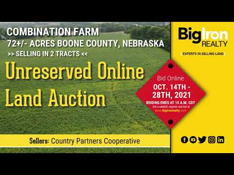 Land Auction 72+/- Acres Boone County, NE Selling in 2 Tracts