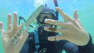 Found knife, Gold & Cash (Possible Murder Weapon) Underwater Metal Detecting. MY boys FIRST SWIM - Video Youtube