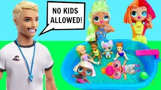 LOL Surprise OMG Big Sisters Pool Party Lifeguard Says No Kids Allowed!