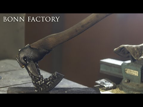 Making unique Nevermore axe from a common wood axe [8:15]