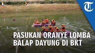 Peringati HUT ke 74 RI, Pasukan Oranye Lomba Balap Dayung di BKT