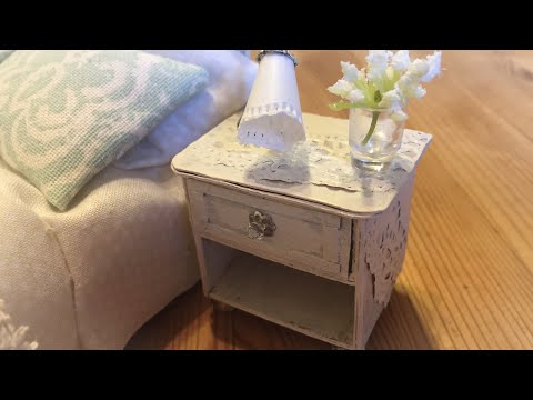 Miniature Tutorial: Bedside Table / Nightstand / Nachttisch shabby chic look