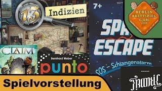 Space Escape, 13 Indizien, Claim, Punto, Frantic - Brettspiel - Berlin Con 2018