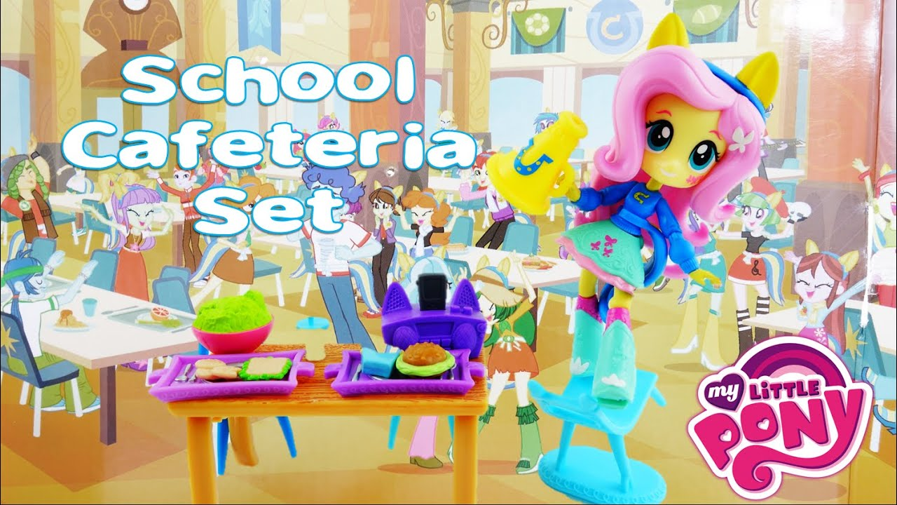 New Fluttershy Canterlot High School Cafeteria Set - My Little Pony Equestria Girls Mini Playset