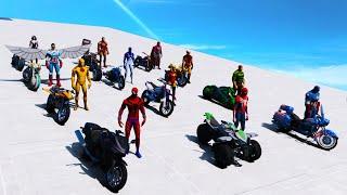 Superheroes SpiderMan and Moto Сhallenge ! Опасная гонка Супер героев Флэш и другие ! GTA V Mods