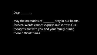 Sample Sympathy Letters