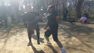STREETBEEFS HEAVYWEIGHT FIGHT FOOTBALL PLAYER VS BLACKBELT IN KARATE