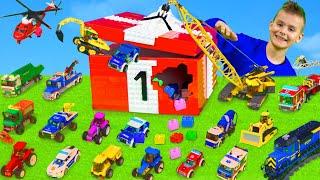 Kinder spielen um Zahlen zu lernen mit Bagger, Feuerwehrauto, Traktor & Spielzeugautos