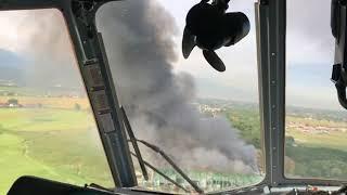 Для тушения пожара на складах в Алматы задействован вертолет