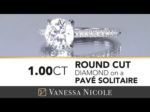 1ct ROUND SOLITAIRE WITH PAVE DIAMONDS | Diamond Solitaire Ring for Ann