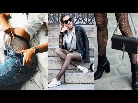 Tendencias 2018 : medias y calcetines de rejilla |LOOKS MODA Inspiración Street Style| cómo combinar