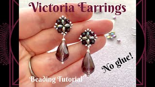 Victoria Earrings Beading Tutorial | Beaded Stud Earring | No Glue