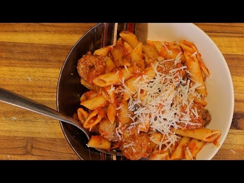 Organic Pasta and Turkey Sausage – red sauce pasta – italian recipes – healthy recipe