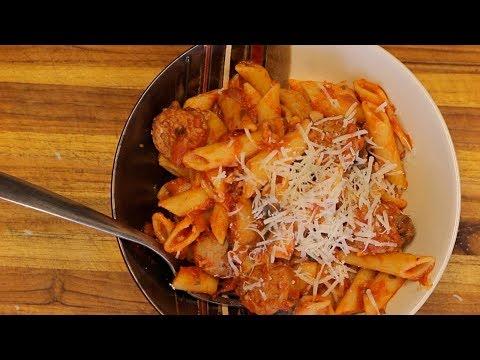 Organic Pasta and Turkey Sausage – red sauce pasta – italian recipes – healthy recipe