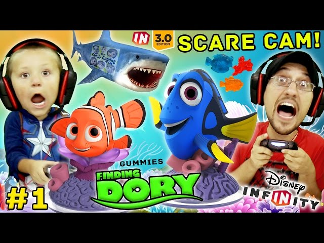 FINDING DORY Shark Scare Cam!  Disney Infinity 3.0 Movie Playset Part 1 w/ Gummies (FGTEEV Gameplay)