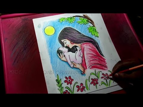 How to Draw Mother and Child Drawing