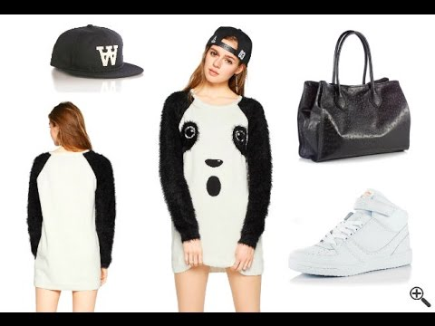 Schöne Ausgefallene Kleider in Weiß & Kurz + Panda Outfit
