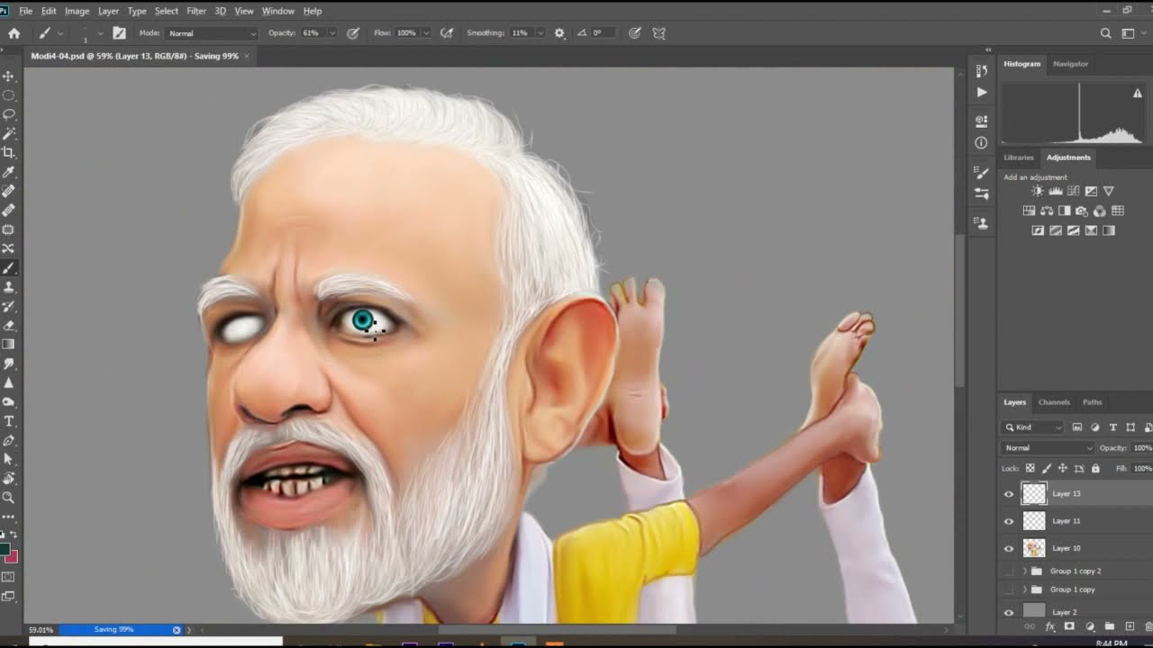 advanced caricature manipulation of narendra modi by artisa