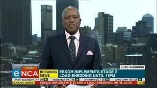 Eskom implementing Stage 2 of load-shedding