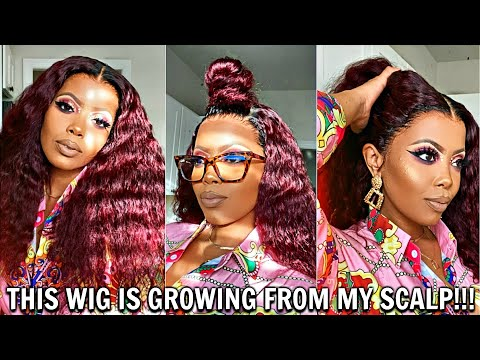 GROWING FROM MY SCALP! MOST NATURAL PRE-PLUCKED HAIRLINE TRANSPARENT LACE WIG MELT RPGSHOW TASTEPINK
