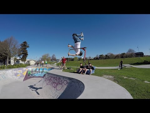 Scooter Tricks by @harrison.robb doing a Stanley out at Kaiapoi
