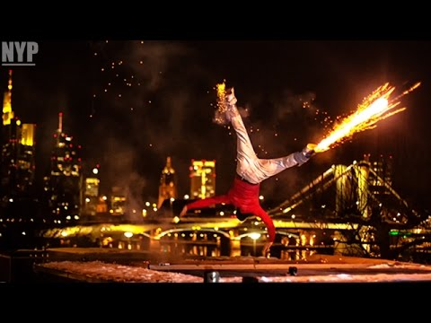 Guy Straps Fireworks To His Ankles For Insane Breakdance Performance