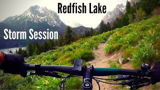 Bike adventure on Redfish Lake Loop near Stanley, ID