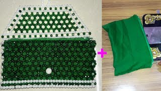 How To Stitch Cloth Bag For Beaded Purse | Attaching Cloth To Beads Bag Inside