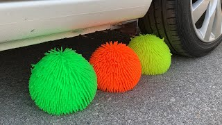 Experiment Car vs Doodles Ball | Crushing crunchy & soft things by car | Test Ex