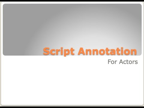 Hi! This is a webinar I taught on Script Annotation for Actors.