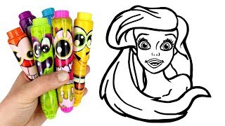 Disney Princess Surprise How to Draw Ariel   Drawing and Glitter Painting Creative for Kids