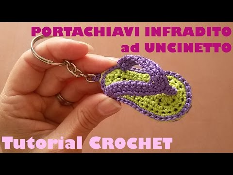 Tutorial portachiavi infradito ad uncinetto (sub. English and Espanol)
