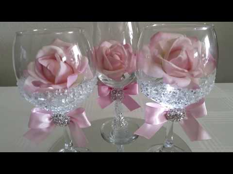 DIY| LIGHT BLING DOLLAR TREE WINE GLASS ROSE DECOR 2017