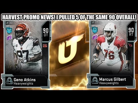 HARVEST PROMO NEWS! I PULLED 5 OF THE SAME 90 OVERALL! HEAVYWEIGHT ATKINS AND GILBERT   MADDEN 20