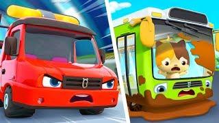 Tow Truck Rescues Bus | Fire Truck, Monster Truck, Police Car | Kids Songs | Kids Cartoon | BabyBus