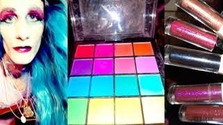 🌈Killerrain Gold💙makeup Review Rainbow NYX Palette And Glittertzi Hard Candy Lipstick #jeffreestar