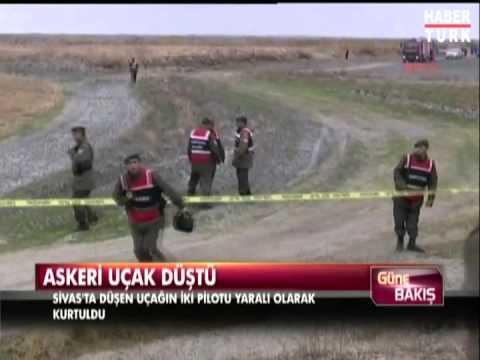 Sivas'ta savaş uçağı düştü İki pilotun yaralandığı bildirildi