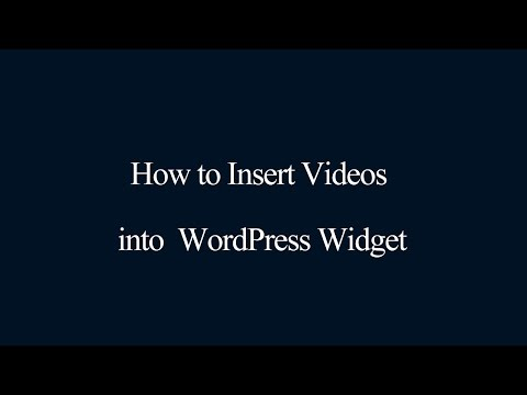 Insert Videos into WordPress Widget