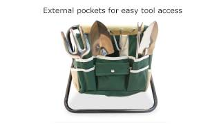 GardenHOME Folding Stool with Tool Bag and 5-Tools All-in-One