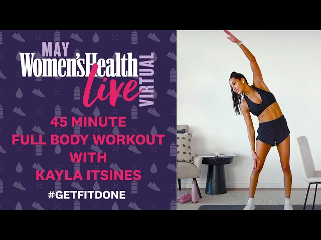 Kayla Itsines BBG Bootcamp 45 Minute Full Body Workout | Women's Health Live Virtual