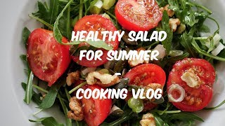 Healthy Salad Recipe for summer. Cooking vlog on the roof of my building