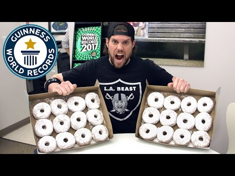 L.A. Beast vs powdered doughnuts - Guinness World Records