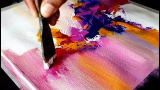 Very Easy And Colorful Abstract Painting / Acrylics / Project 365 Days / Day #011 / Demonstration