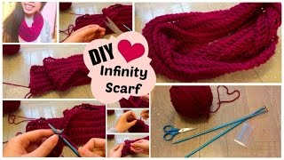♡ DIY Infinity Scarf // Easy Knit Pattern for Beginners | SLife ♡