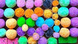 Bolas de jabón multicolor. Cestas de jabón. Cortando el jabón en cubos.