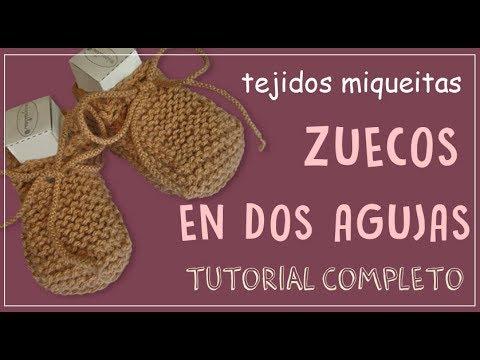 Cómo tejer zuecos para bebé en dos agujas