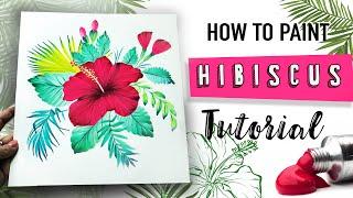 Hibiscus Flower Acrylic Painting Tutorial मफत ऑनलइन
