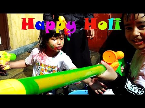 Colorful Happy Holi 2019 | Nepal | Like Basantapur at Kids Playtime ||