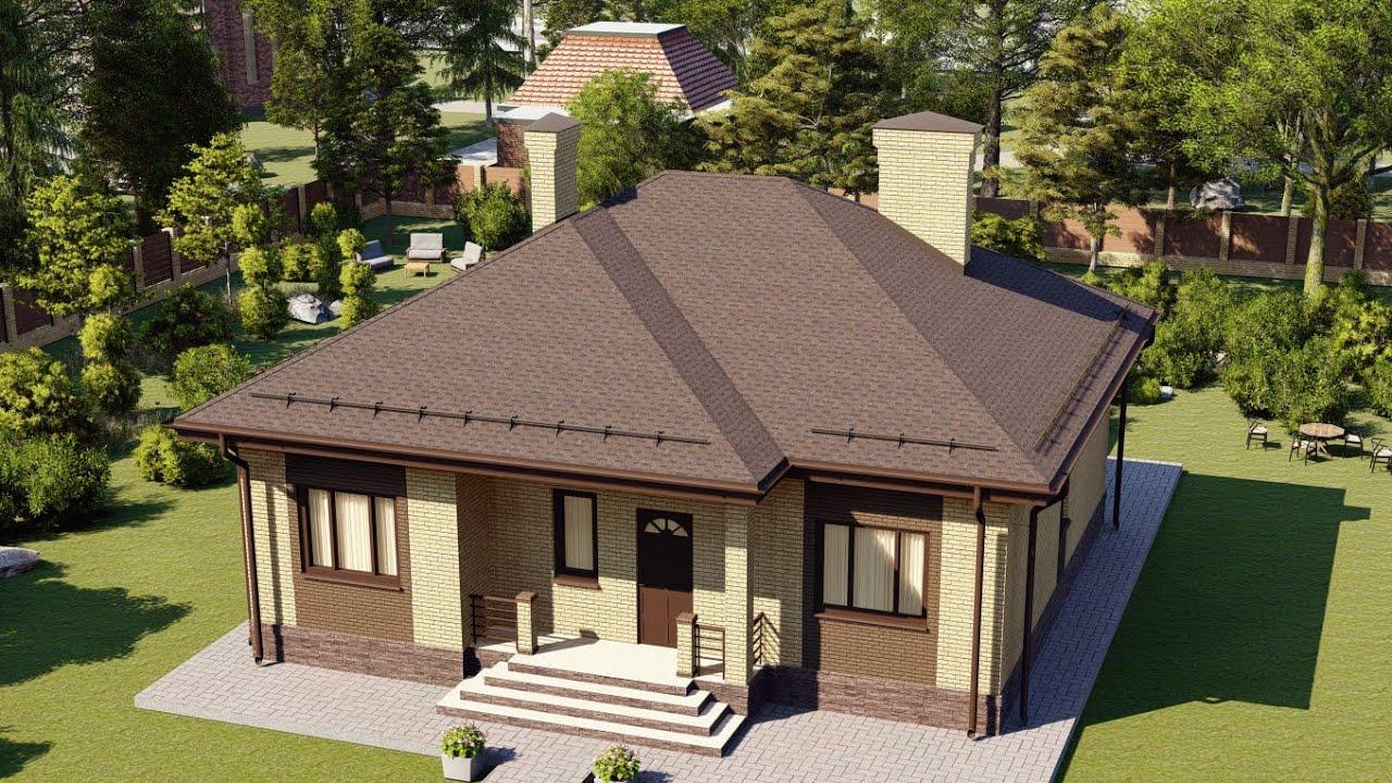 Проект одноэтажного дома с террасой из кирпича