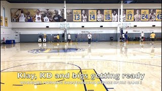 Klay and Durant shooting, while Jordan Bell, Zaza and Damian Jones stay ready at morning shootaround